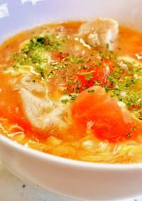 トマトとささみのにんにく卵スープ♡