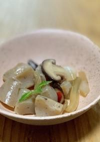 コンニャクの炒め煮(玉ねぎ椎茸入り)