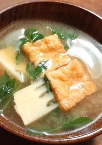 筍、うこぎ、厚揚げのお味噌汁