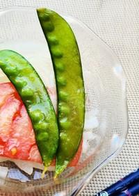 彩り綺麗!絹さやとトマトと新玉葱のマリネ