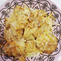鶏胸肉のカレー炒め。チーズトッピング。