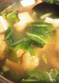 春キャベツと厚揚げの味噌汁