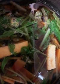 水菜と厚揚げの味噌汁