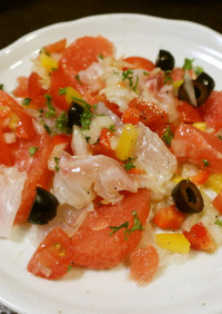 鯛とグレープフルーツのサルサ風味マリネ