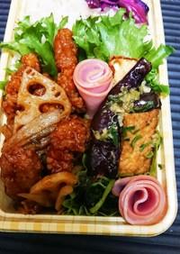 【夫婦弁当24】茄子と厚揚の焼浸しと惣菜