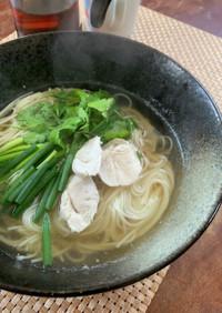 素麺でお昼ごはん! フォー風の鶏出汁麺