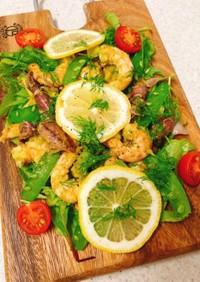ホタルイカとエビの春の海鮮サラダ