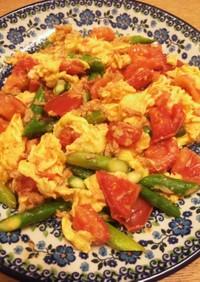 アスパラとトマトの卵炒め