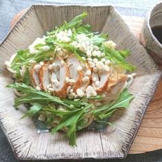 レンジでごぼう天水菜天かすのぽん酢うどん