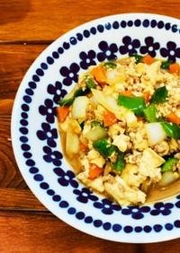 ちぎり豆腐のこってり野菜炒め
