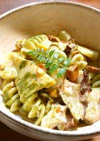 筍と蛸のフジッリ 発酵新玉葱木の芽ソース