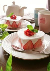 焼かずに簡単☆苺のレアチーズケーキ。