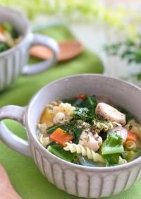 野菜たっぷり チキンヌードルスープ