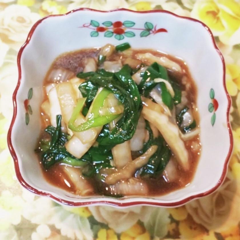 揚げ豆腐に、オイスター野菜掛けです。