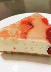 簡単!桜と苺のレアチーズケーキ