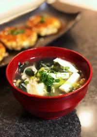 豆腐とわかめのネギスープ
