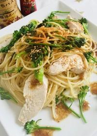 Tくんの朝活☆鶏肉と菜の花のスパゲッティ