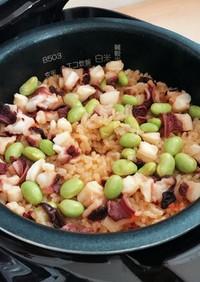 枝豆とタコの炊き込みご飯☆タコ飯