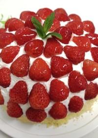 苺のドームケーキのデコレーション☆