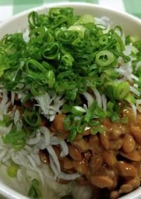 納豆ご飯(しらす干し、オニスラ、万ねぎ)