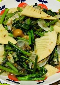 のらぼう菜と山菜の炒め物