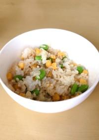 【レンジで簡単】枝豆チーズコーン混ぜご飯