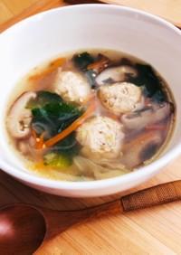 もち麦入り鶏団子の中華スープ