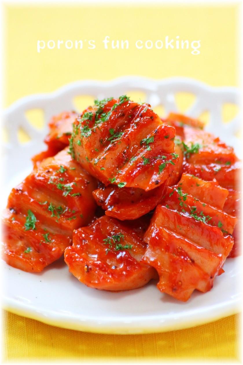 魚肉ソーセージのガーリックケチャップ炒め