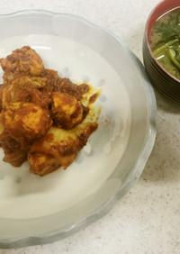 鶏肉と白菜のトマト煮込み&味噌汁