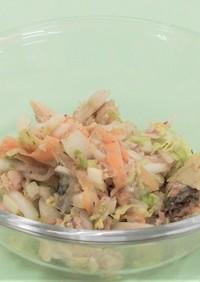 白菜とさば水煮缶とポテトチップのコラボ