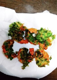 パセリまみれの赤えびの天ぷら