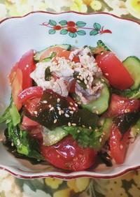 生野菜と、豚しゃぶ肉のチョレギサラダです