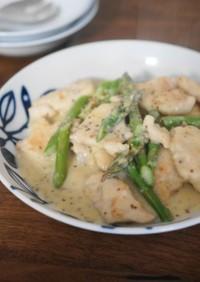 鶏胸肉のマスタードクリーム炒め