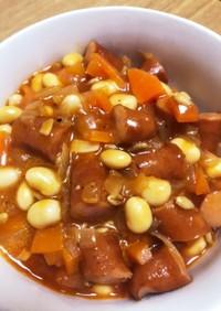 大豆とソーセージの腸活トマトスープ