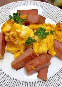 スパムと卵のスクランブルエッグ簡単卵炒め