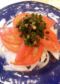 新玉ねぎとトマトの和風サラダ