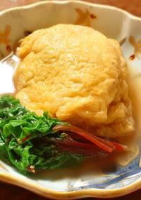 ふだん草、鶏挽肉、豆腐の巾着煮 発酵玉葱