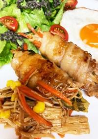 豚バラ肉巻き レタス 残り野菜