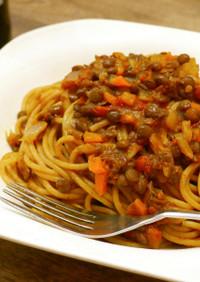 レンズ豆のヴィーガンミートソース風パスタ