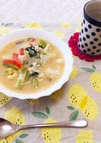 とろとろ野菜の豆乳スープ