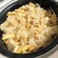 大豆とたけのこご飯