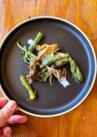 タラの芽と舞茸の醤油麹炒め