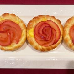りんごとカスタードの薔薇パン