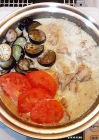 今日の晩ごはん★若鶏と夏野菜の豆乳仕立て