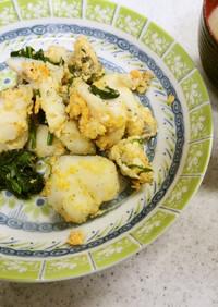 鱈とほうれん草と卵炒め&エンドウの味噌汁