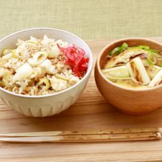 ねぎとツナの炊き込みご飯とねぎの味噌汁