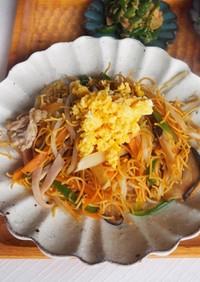 竹の子が、うまい。皿うどんの麺で簡単炒麺
