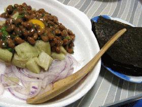 納豆と焼き茄子サラダの手巻き海苔