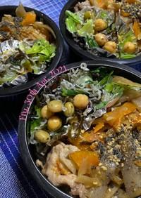金平牛蒡の豚丼(青梗菜の豆和え)