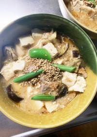 レンジ豚こま豆乳de坦々麺味麻婆豆腐茄子